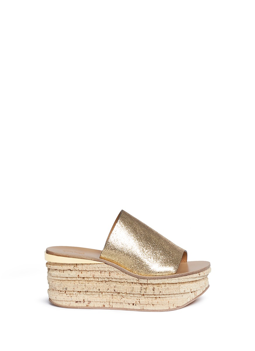 CAMILLE METALLIC CRACKED-LEATHER WEDGE SANDALS