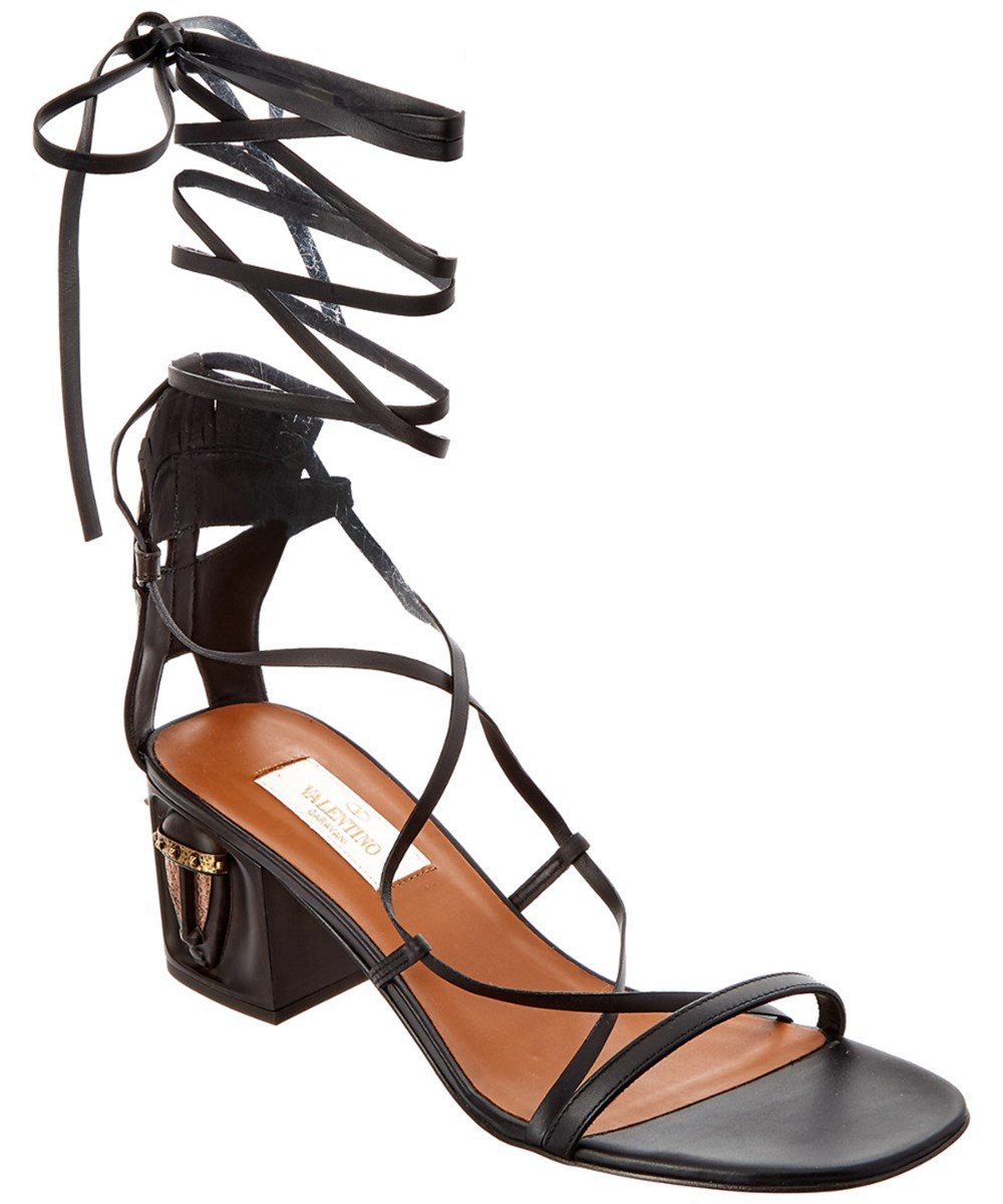 Valentino Leathers VALENTINO TRIBAL LACE UP LEATHER GLADIATOR SANDAL