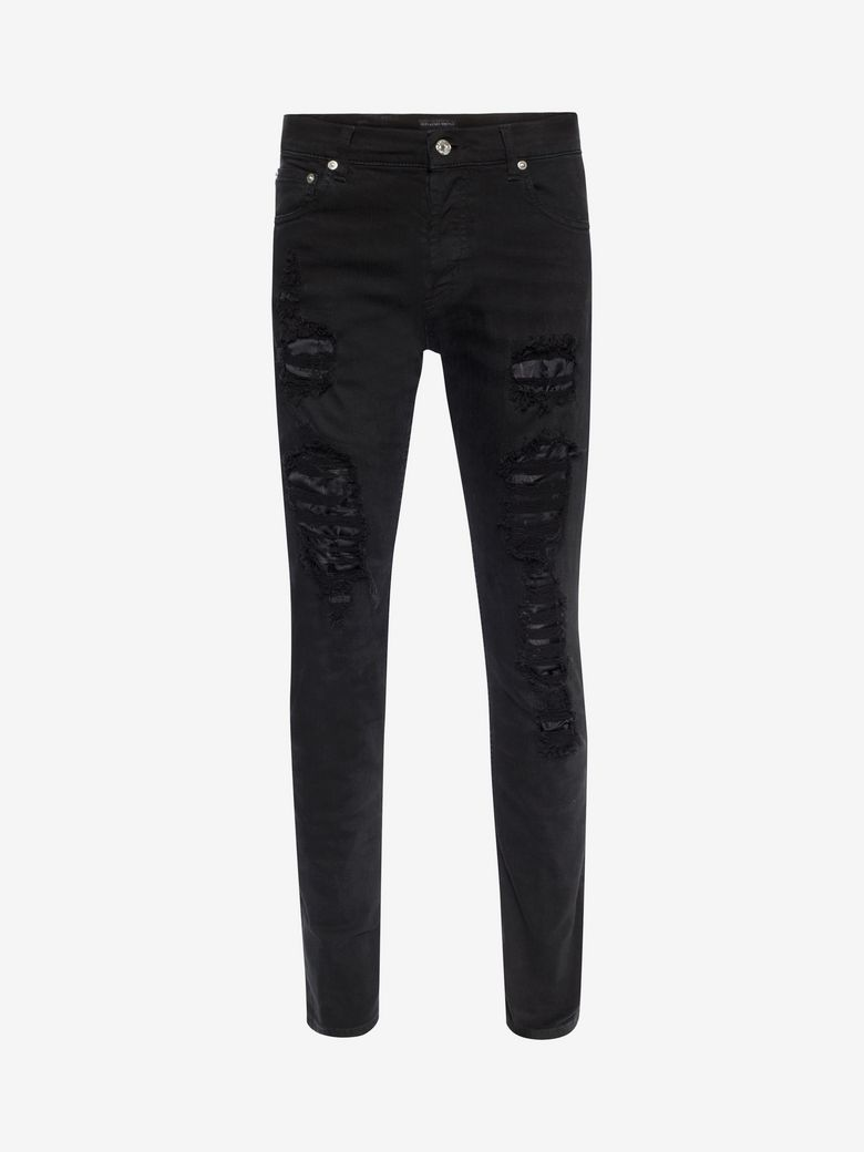 Alexander Mcqueen Cottons BLACK DISTRESSED JEANS