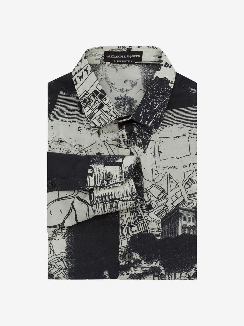"""Alexander Mcqueen Cottons """"LONDON MAP"""" PRINTED SHIRT"""