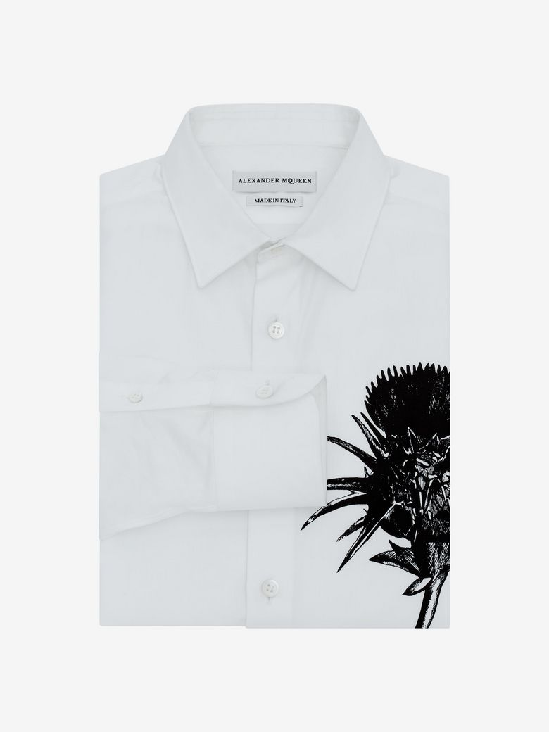 Alexander Mcqueen Cottons THISTLE PRINT FITTED SHIRT