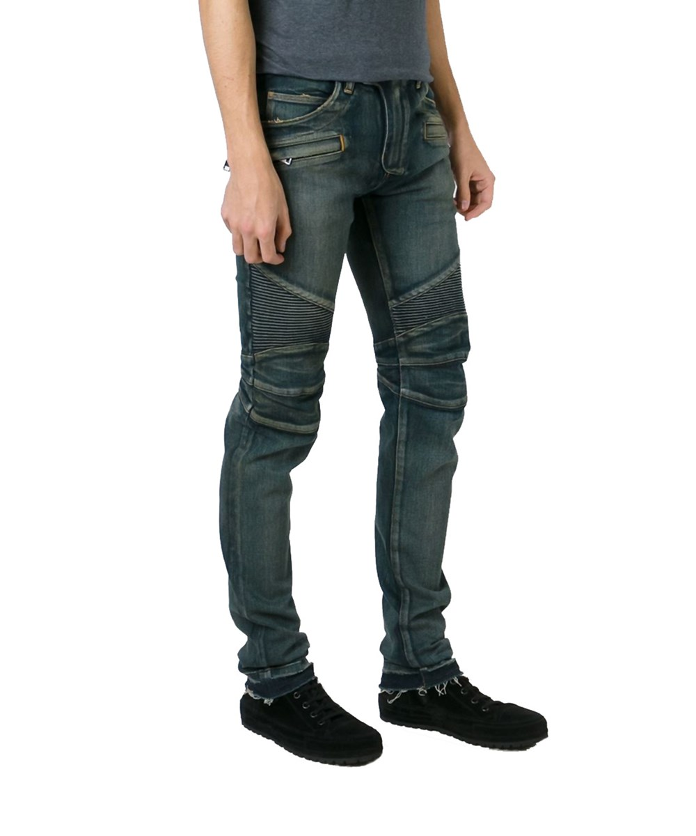 Balmain Cottons BALMAIN MEN'S  BLUE COTTON JEANS
