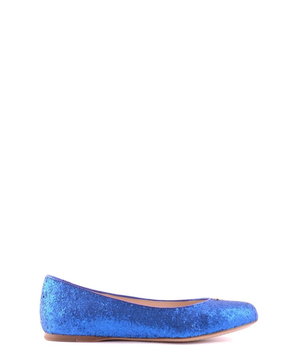 Prada Leathers PRADA WOMEN'S  BLUE FABRIC FLATS