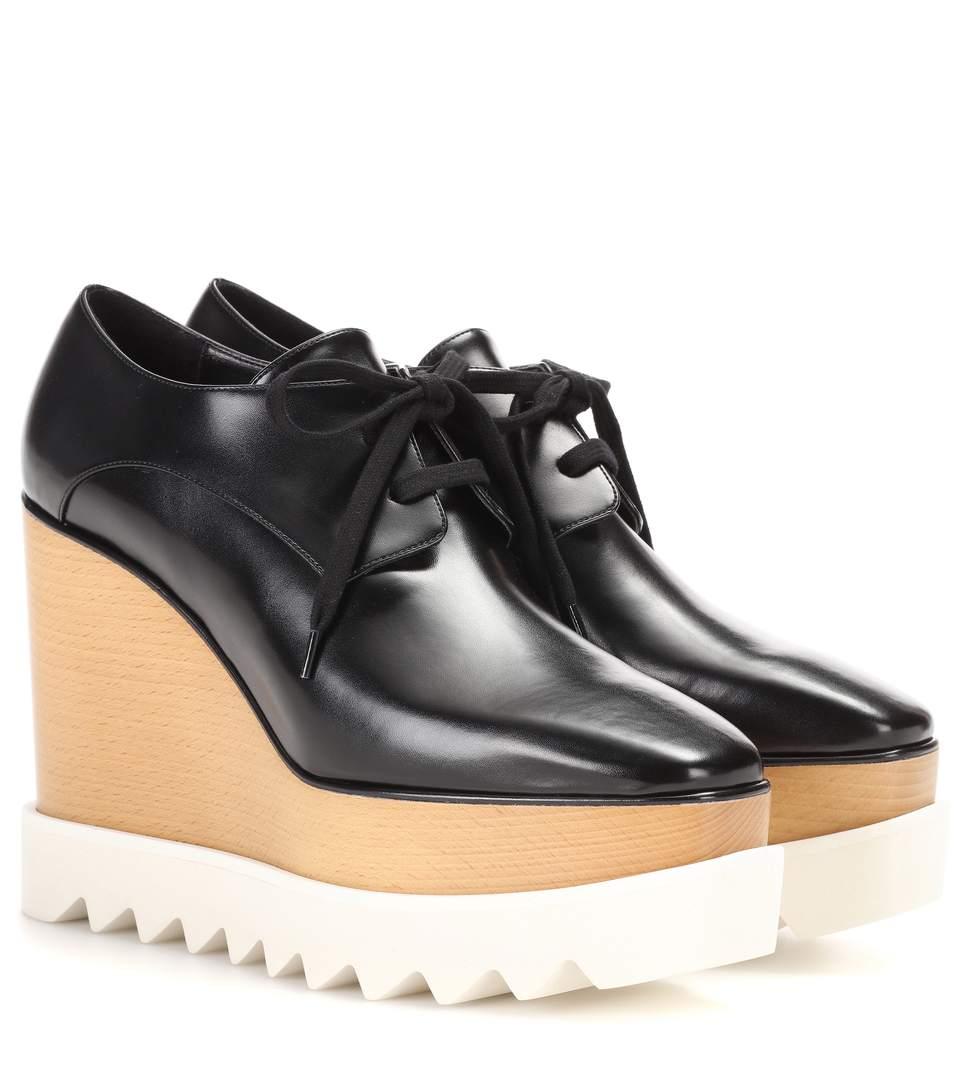 Elyse faux-leather flatform brogues
