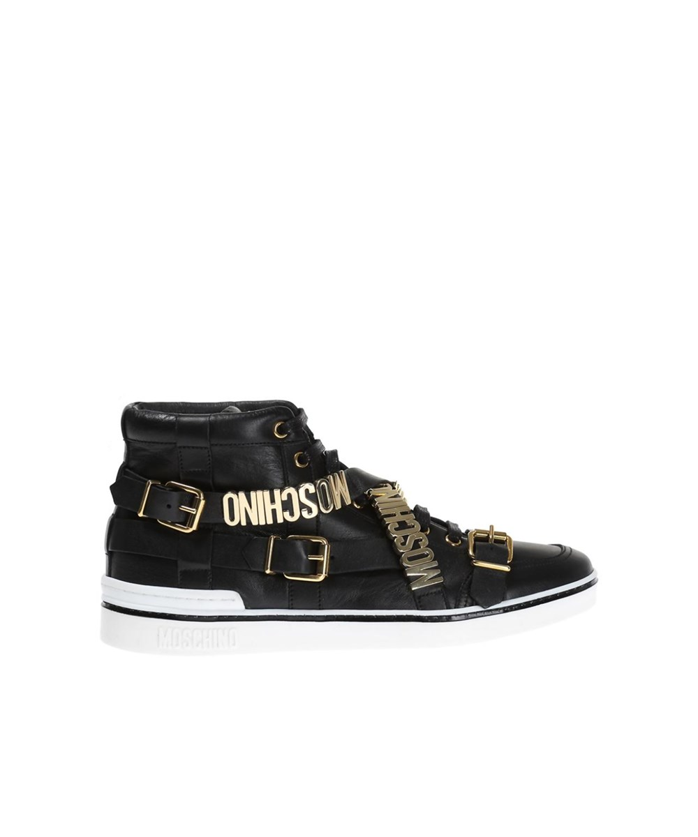 Moschino Leathers MOSCHINO MEN'S  BLACK LEATHER HI TOP SNEAKERS