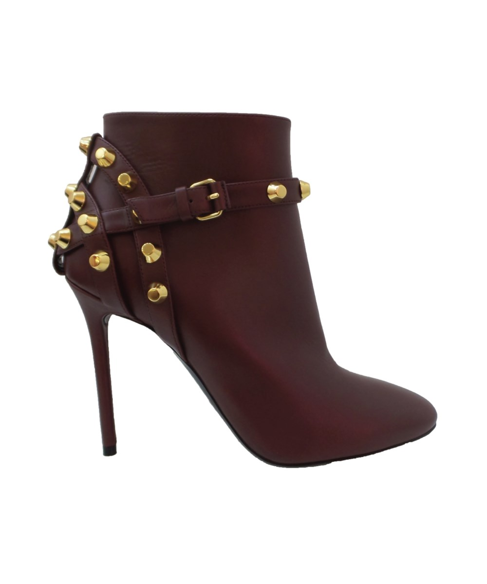 BALENCIAGA WOMEN'S  BURGUNDY LEATHER ANKLE BOOTS