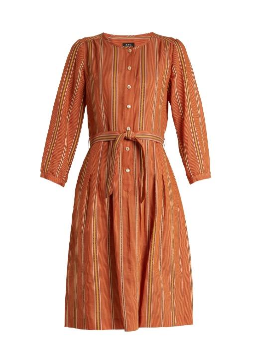 A.P.C. LALY STRIPED COTTON-BLEND DRESS