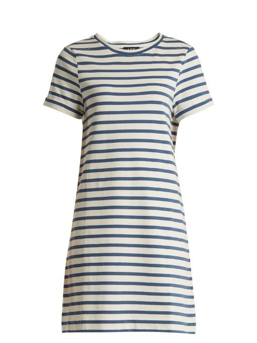 A.p.c. Cottons BECKIE STRIPED COTTON-JERSEY DRESS