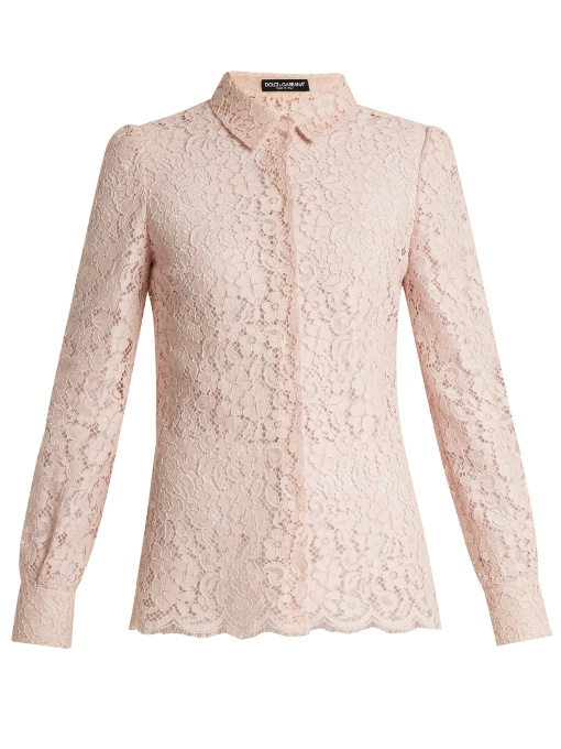 Dolce & Gabbana Cottons Point-collar cordonetto-lace shirt