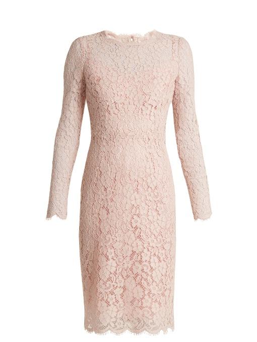 Dolce & Gabbana Silks LONG-SLEEVED CORDONETTO-LACE DRESS