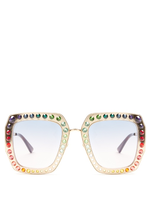 Gucci Sunglasses Oversized embellished square-frame sunglasses
