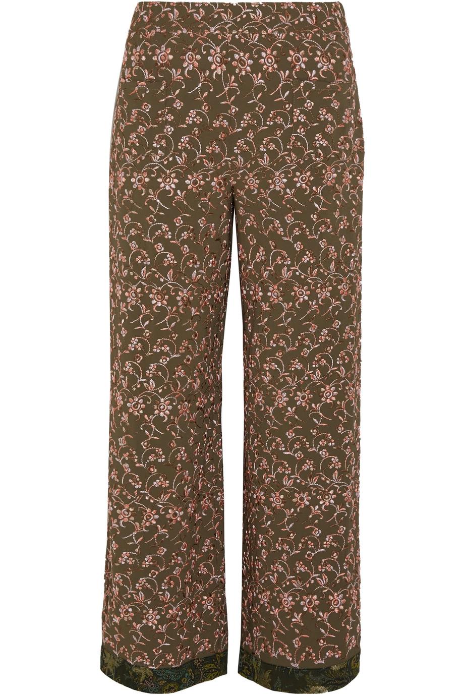 Etro Silks Embroidered crepe wide-leg pants