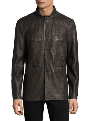 John Varvatos Leathers Zipper Closure Leather Jacket