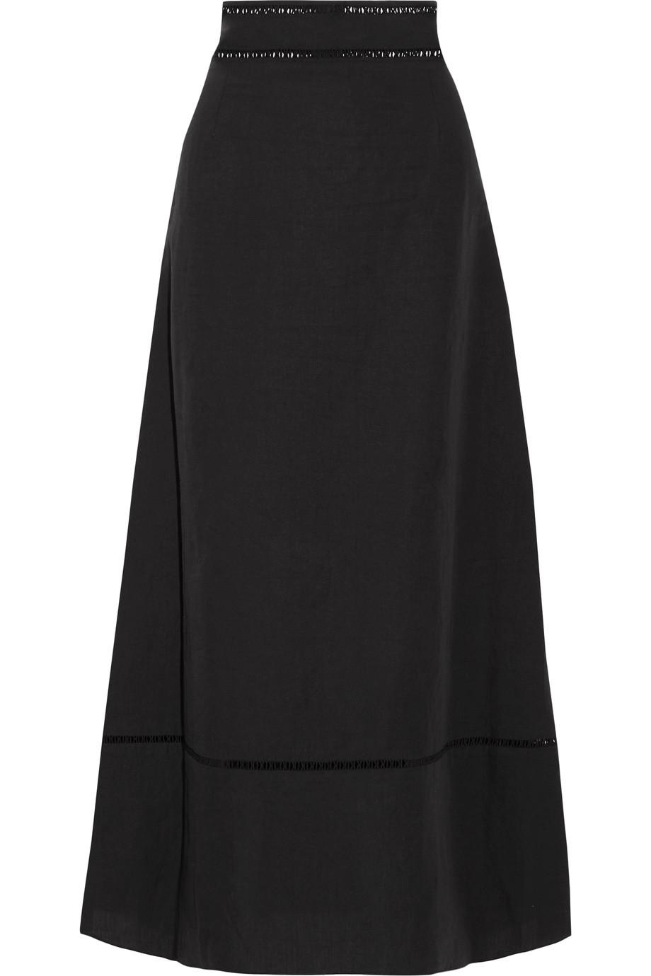 Isabel Marant Linens Riley open knit-trimmed linen and cotton-blend maxi skirt