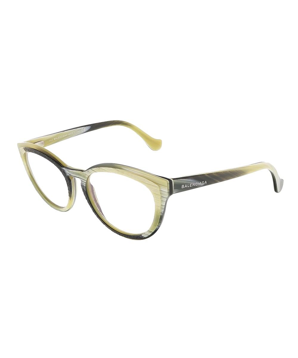 Balenciaga Opticals BA5031/V 064 YELLOW BLACK HORN OVAL PRESCRIPTION-EYEWEAR-FRAMES