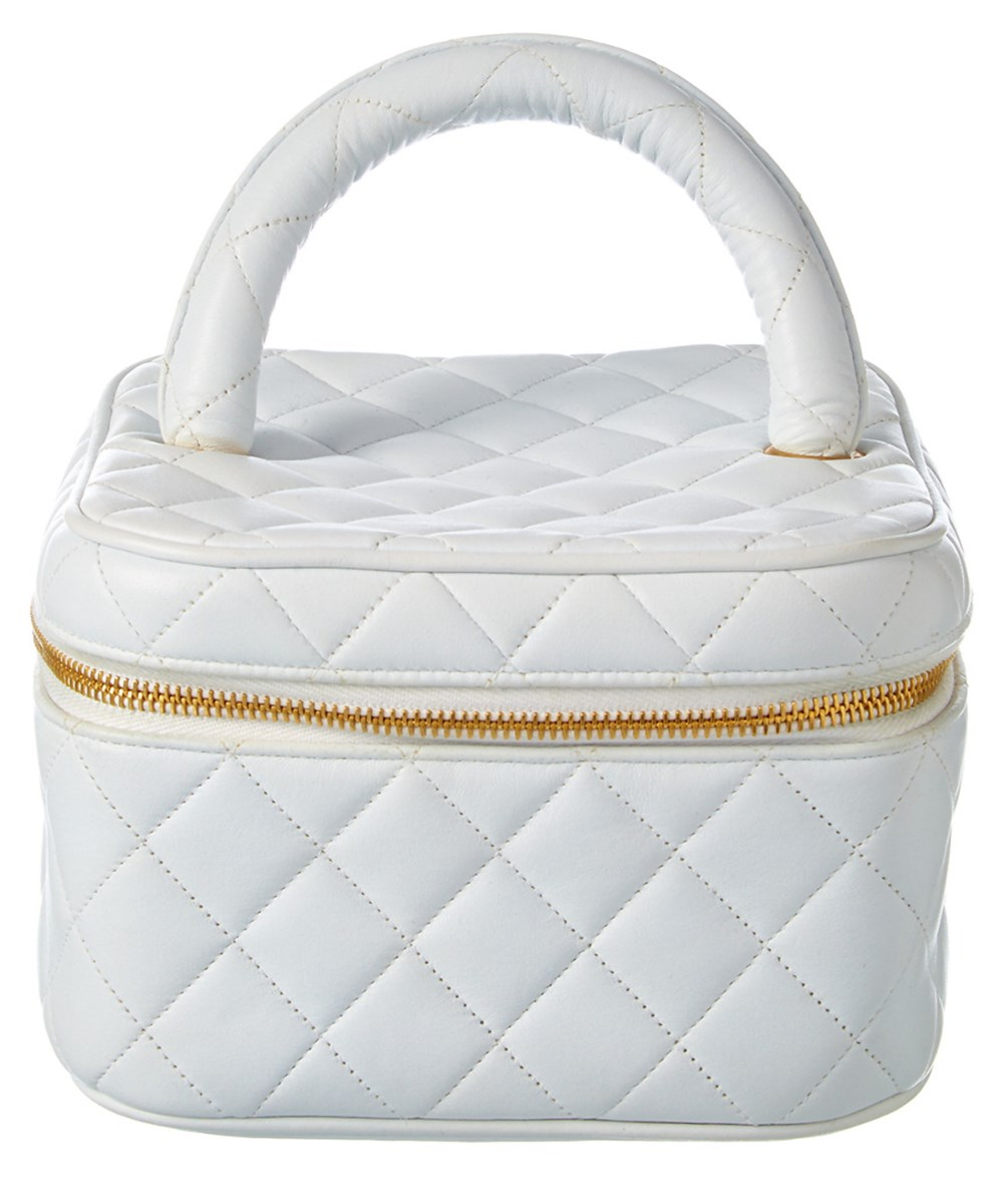 Chanel Cosmetics cases CHANEL WHITE QUILTED LAMBSKIN VANITY CASE'