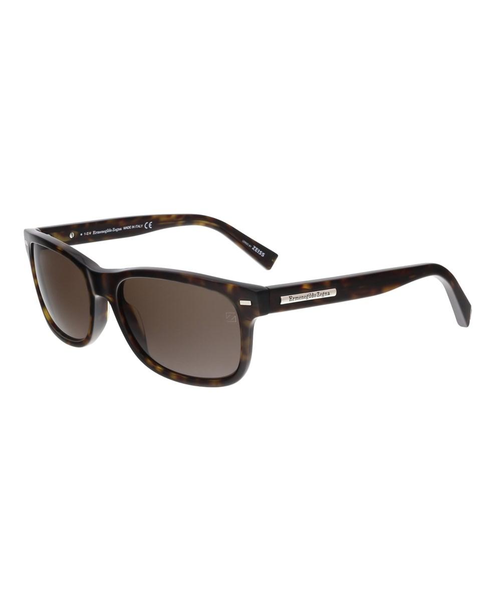 Ermenegildo Zegna Ez0001/S 52j Dark Tortoise Rectangle Sunglasses