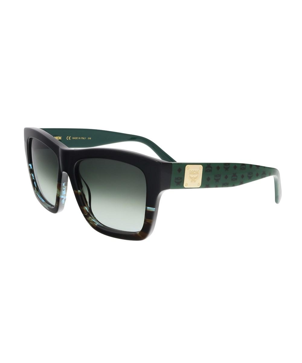 Mcm Sunglasses MCM607S 967 BLACK-STRIPED AQUA SQUARE SUNGLASSES