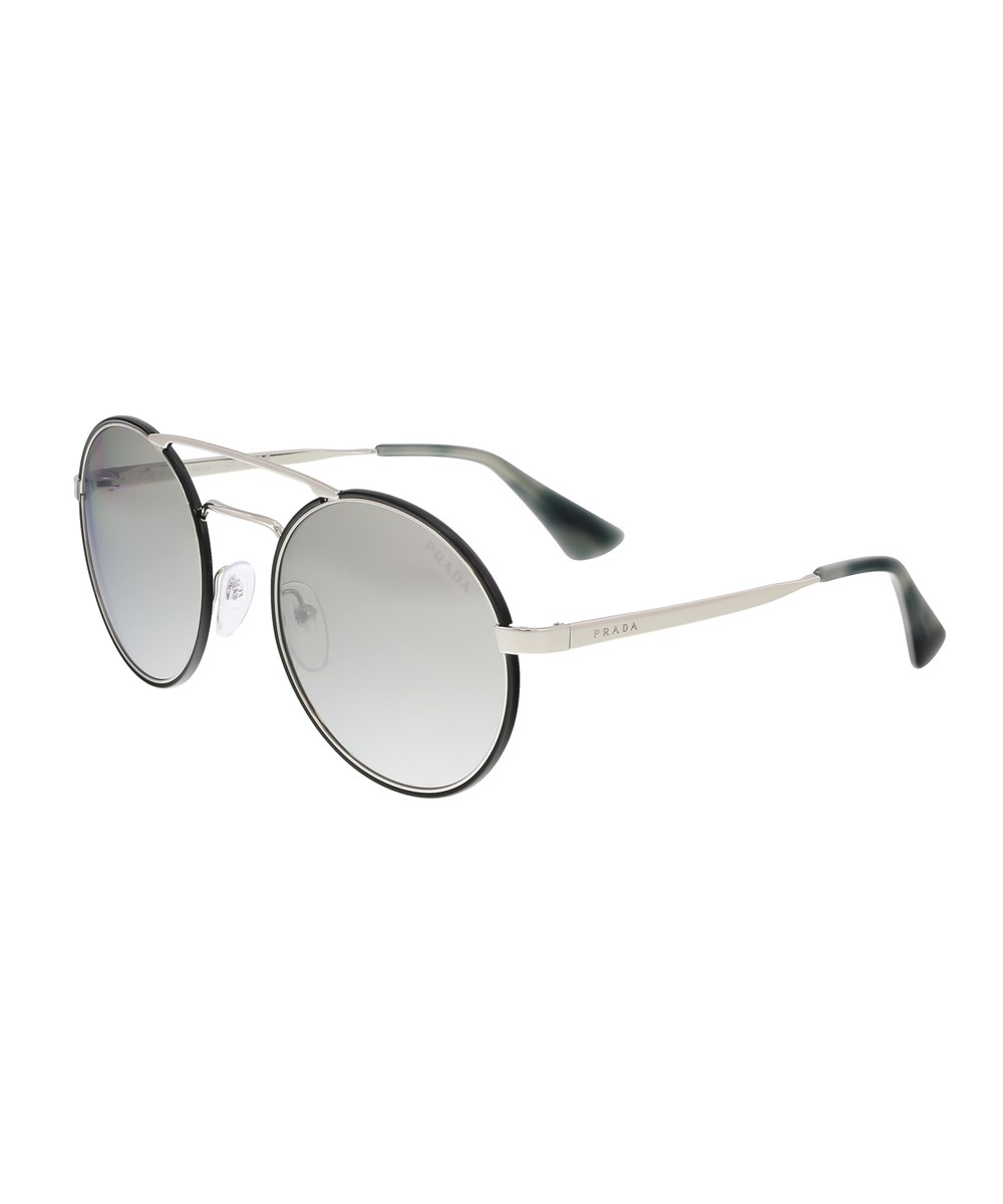 Prada Sunglasses PR 51SS 1AB2B0 ROUND BLACK SUNGLASSES'
