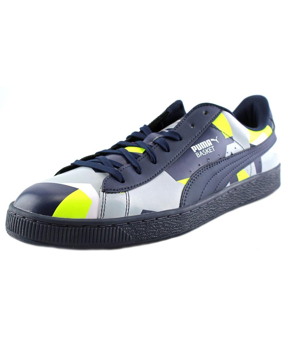 Puma Sports Puma Basket Classic Graphic Men  Round Toe Synthetic Blue Tennis Shoe