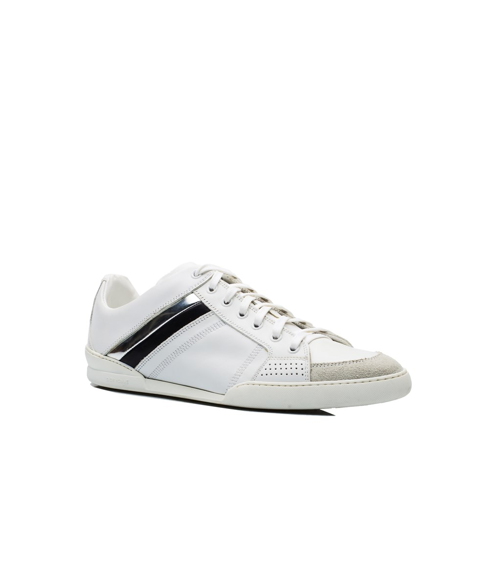 Dior Leathers DIOR HOMME MEN'S LEATHER SUEDE LOW TOP SNEAKER SHOES WHITE SILVER