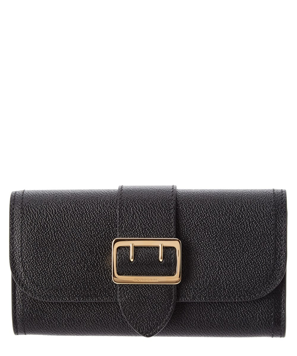 BUCKLE TEXTURED LEATHER CONTINENTAL WALLET