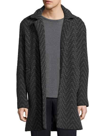 Etro Wools LONG CHEVRON WOOL CARDIGAN COAT, GRAY