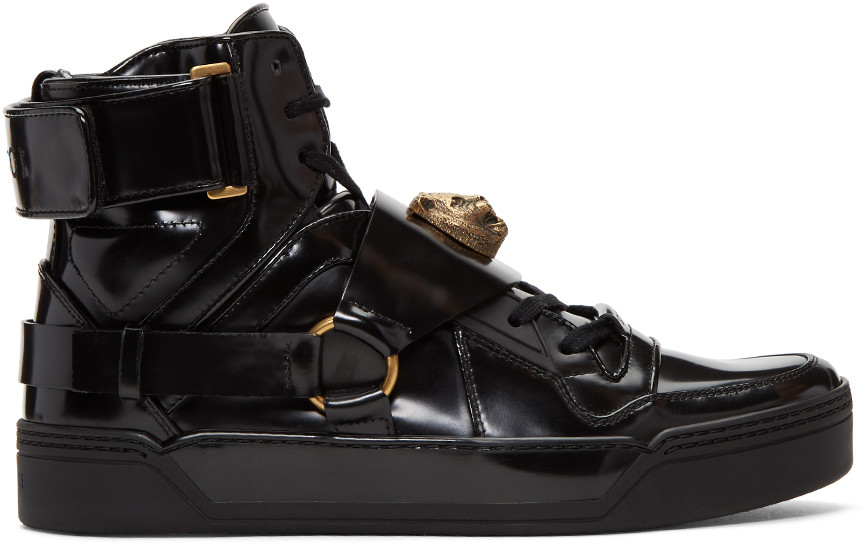 gucci high tops. gucci leather high-top sneaker with feline in nero gucci high tops