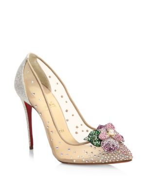 FEERICA CRYSTAL-EMBELLISHED RED SOLE PUMP, WHITE