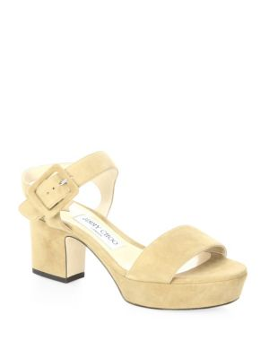 5612ddd3fed JIMMY CHOO Harriet 65 Suede Ankle-Strap Sandals in Hazel