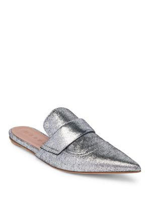 SILVER LEATHER RISING SABOT MULES