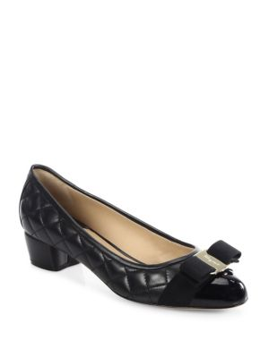 c2d81b81a0 SALVATORE FERRAGAMO Vara Quilted Leather Block Heel Pumps, Black ...