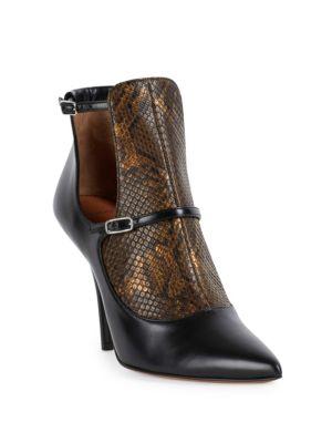 New Feminine Line Python & Leather Cutout Booties