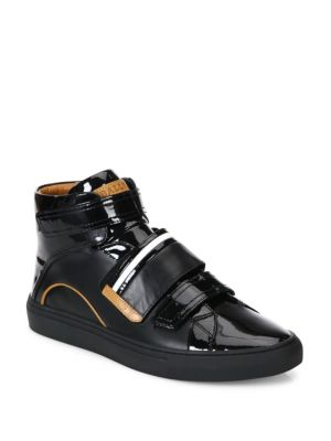 Bally Leathers Grip-Tape Patent Leather High-Top Sneakers