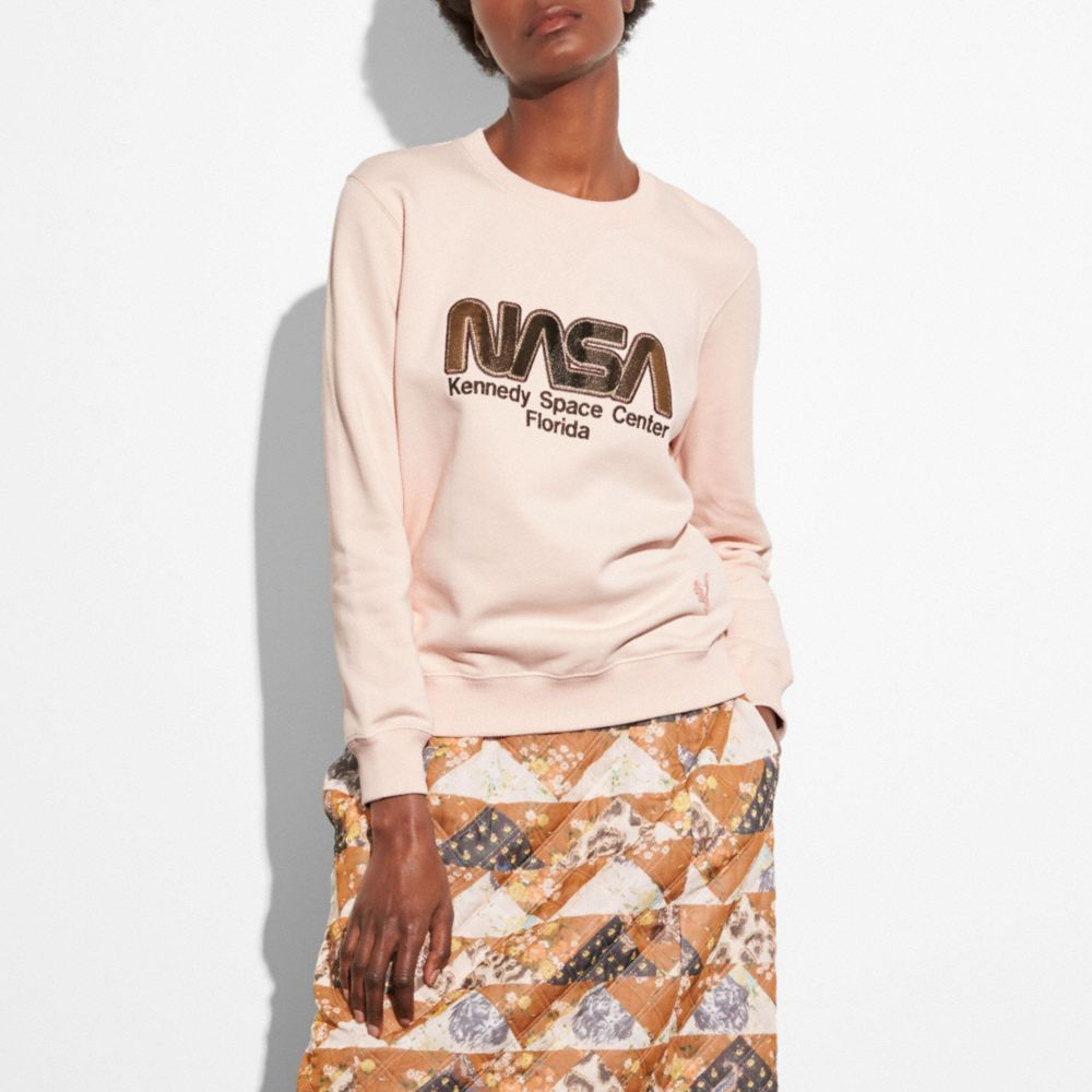 Space embroidered cotton sweatshirt