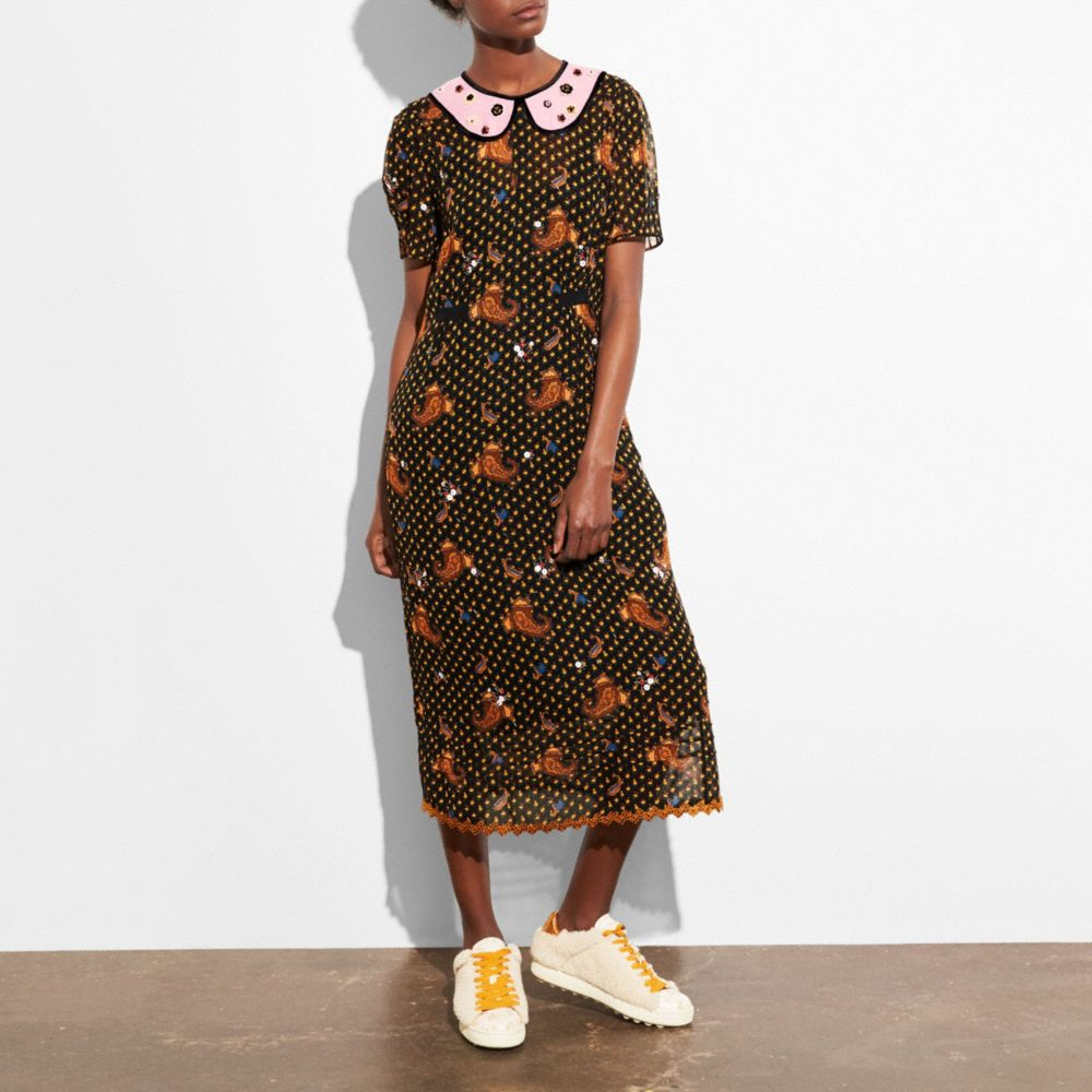 Coach Dresses COACH EMBROIDERED BOUQUET DRESS