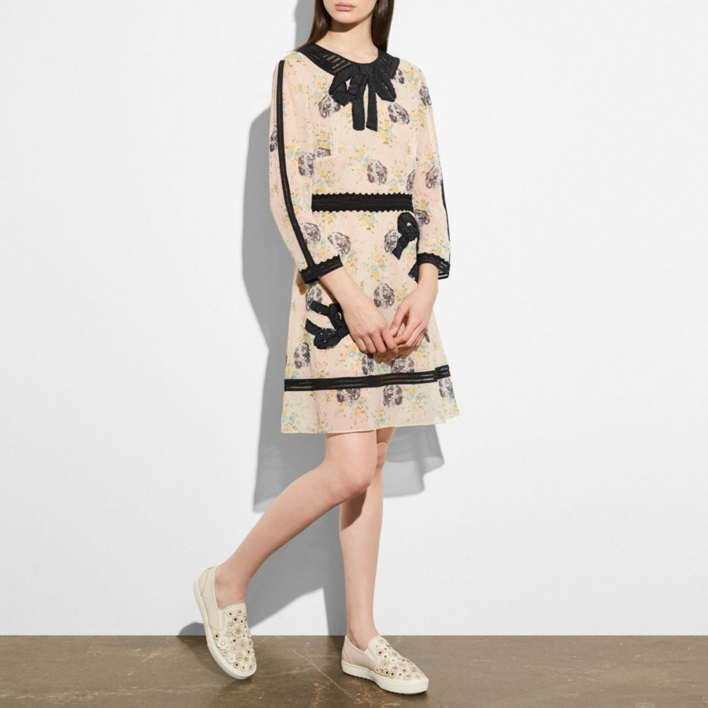 Coach Linings COACH EMBROIDERED PRAIRIE DOG ROSE DRESS
