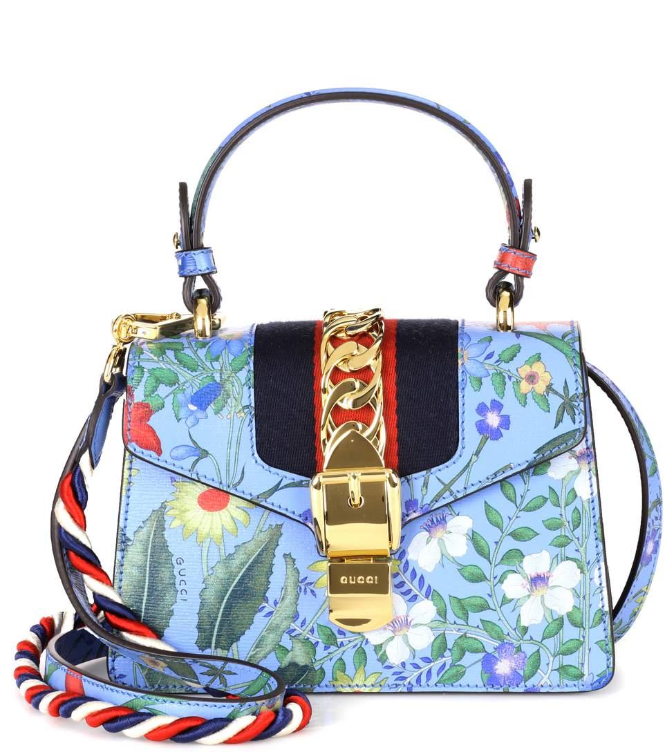 Gucci Leathers SYLVIE NEW FLORA LEATHER SHOULDER BAG