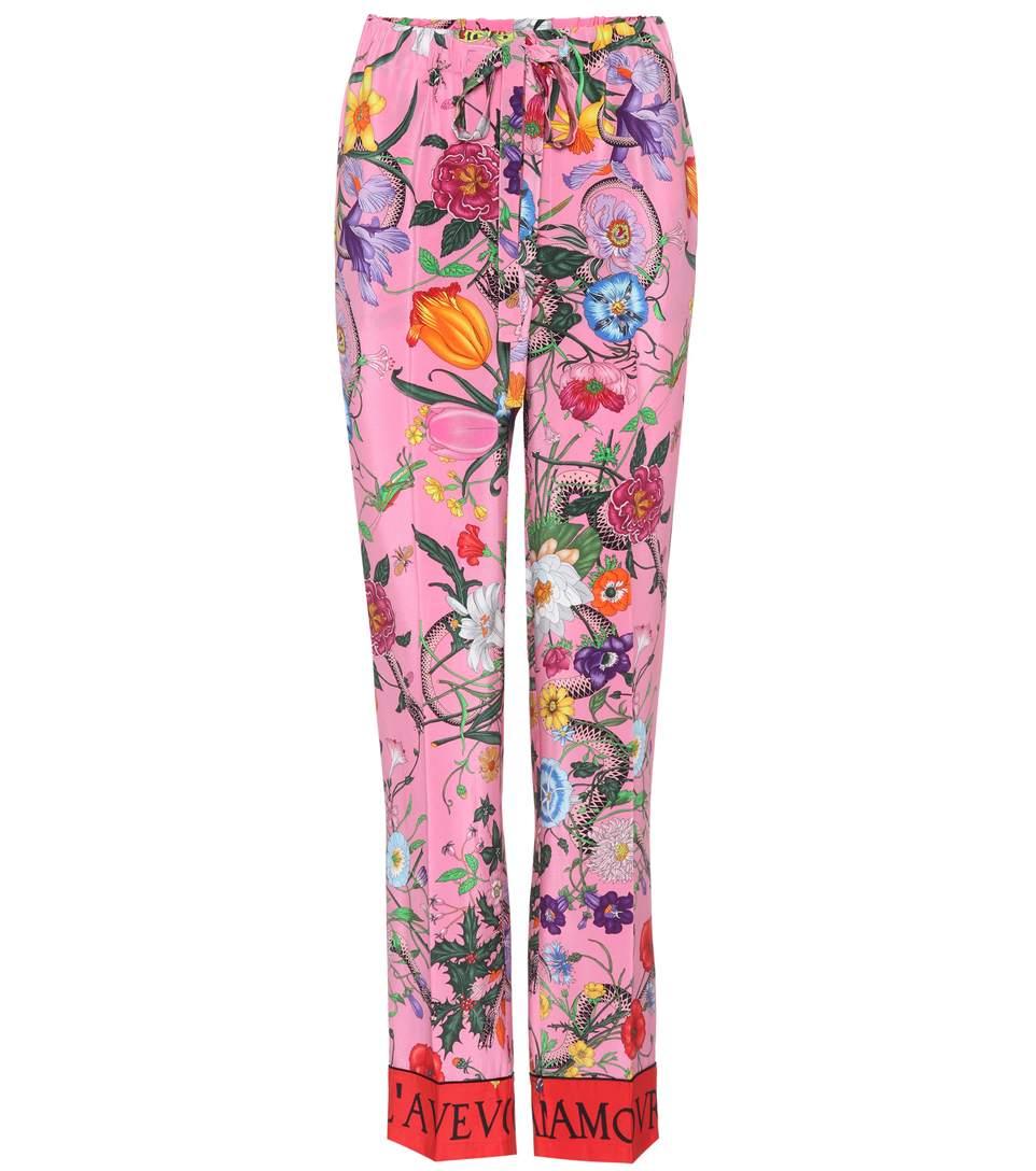 Gucci Silks Printed silk trousers
