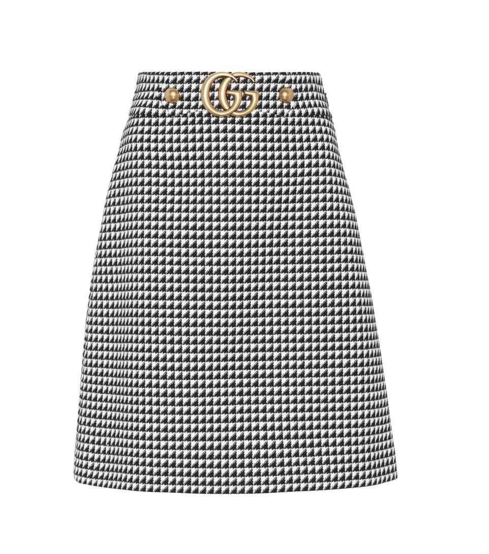 Gucci Wools Embellished wool-blend skirt