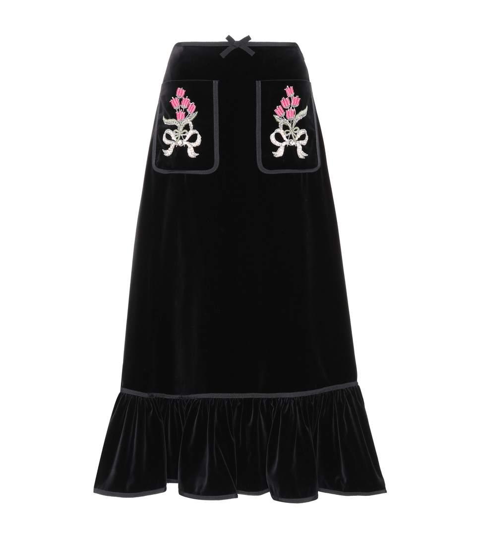 Embellished-pocket cotton-blend velvet skirt
