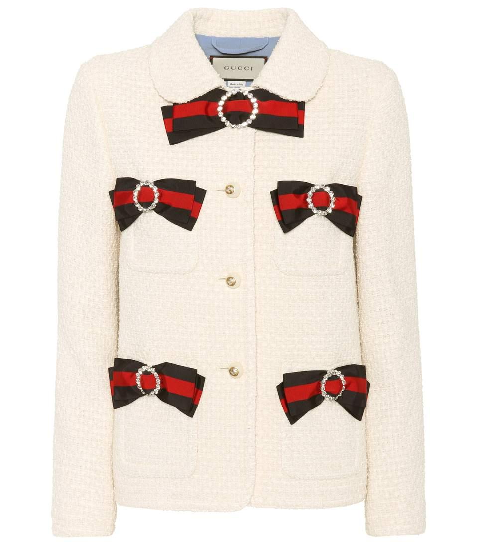 Gucci Silks Embellished tweed jacket