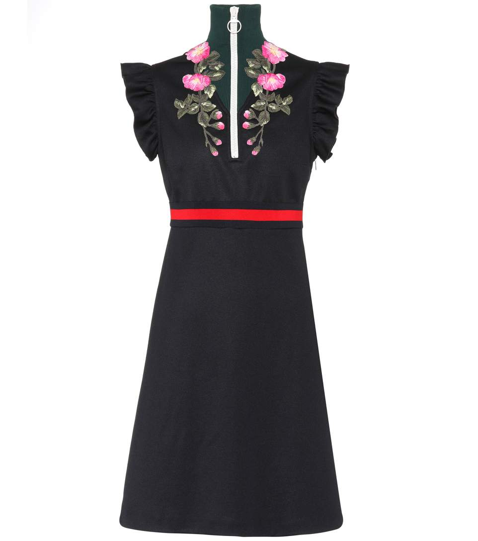 Gucci Cottons EMBROIDERED JERSEY DRESS
