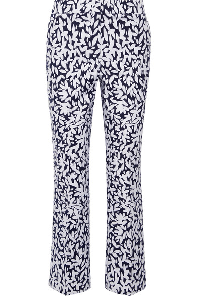 Oscar De La Renta Cottons CROPPED PRINTED STRETCH-CANVAS STRAIGHT-LEG PANTS