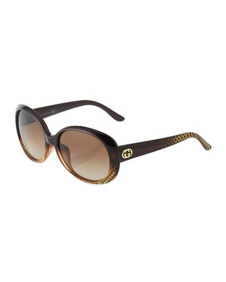 Gucci Sunglasses ROUND PLASTIC SUNGLASSES, BROWN