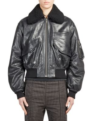 Shearling-Trim Leather Bomber Jacket
