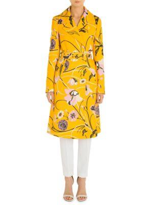Emilio Pucci Silks Floral Wool And Silk Coat