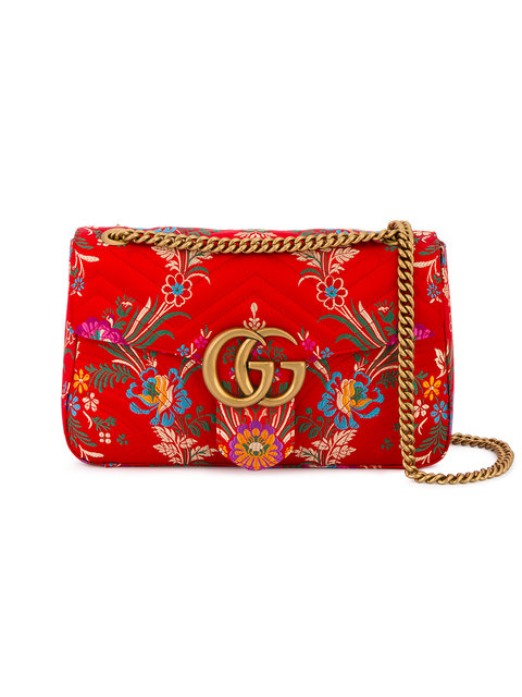 Gucci Leathers Red Floral Marmont 2.0 Shoulder Bag