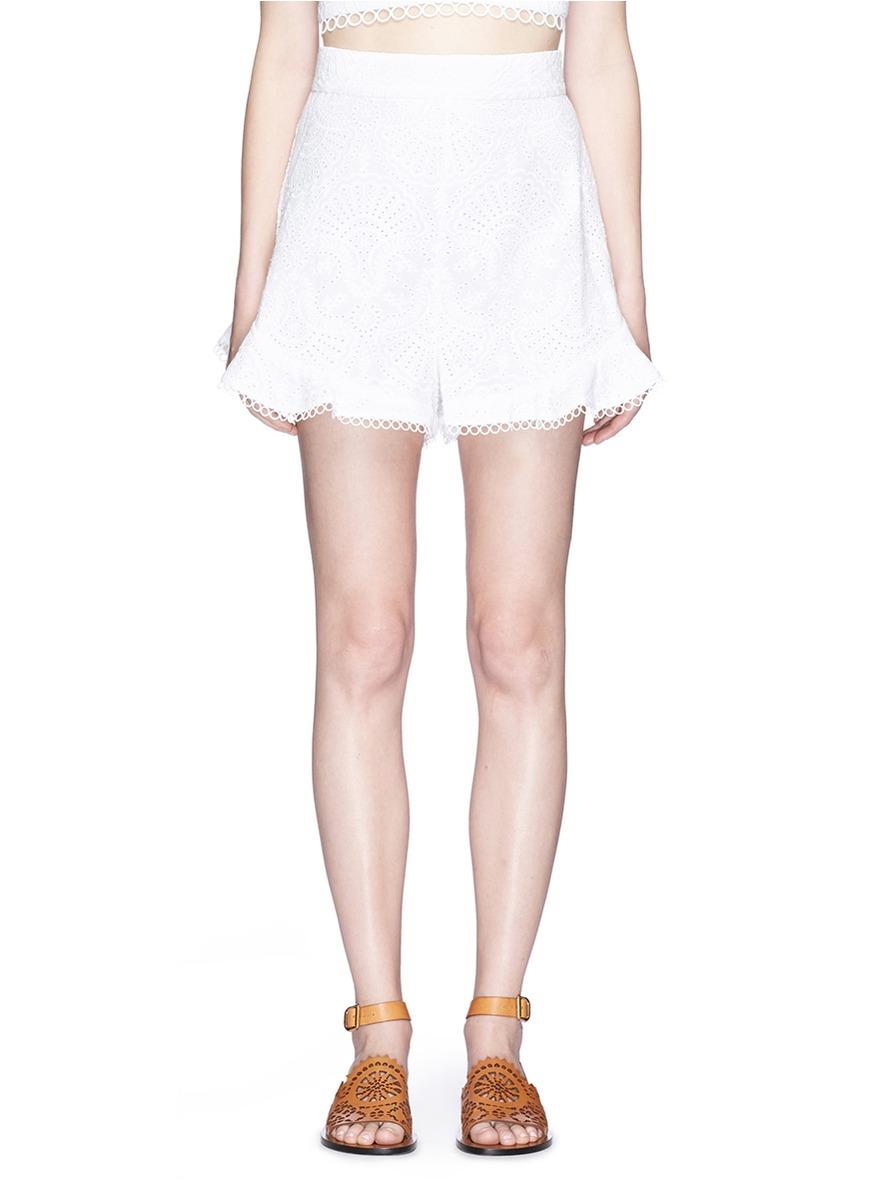 Zimmermann Cottons 'Mercer Flutter' high waist embroidered cotton shorts