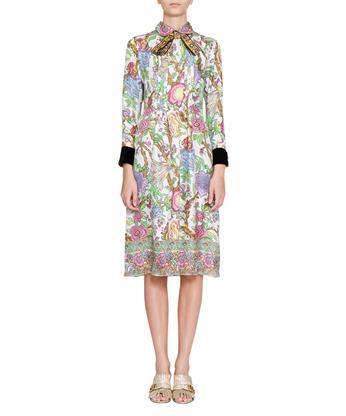 Gucci Silks Floral print silk twill dress